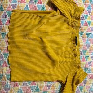 Mustard Yellow Shein crop top shirt